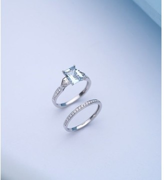 14K White Gold Aquamarine & Diamond Bridal Set Ring by Anika and August