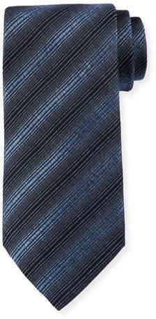 Giorgio Armani Diagonal Stripes Silk/Wool Tie, Heron Blue