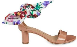 Salvatore Ferragamo Tursi Ankle-Tie Patent Leather Sandals