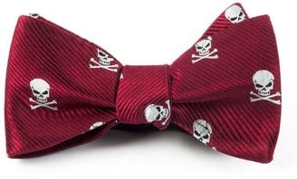 Tie Bar Skull And Crossbones Red Bow Tie