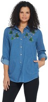 Factory Quacker Button Front Denim Tunic with Holiday Motif