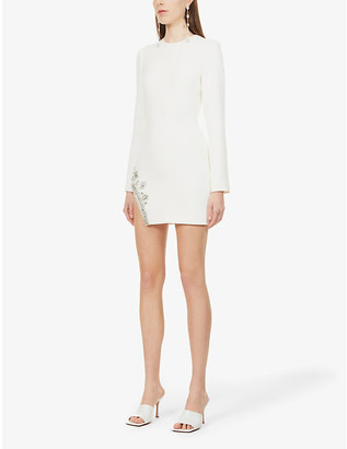 David Koma Crystal-embellished stretch-crepe mini dress