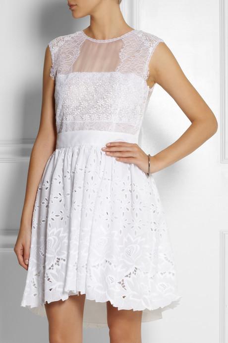Alberta Ferretti Silk-organza and broderie anglaise cotton dress
