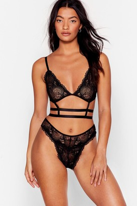 Nasty Gal Womens Try Your Harness Lace Bralette and Panty Set - Black