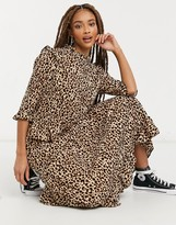 Thumbnail for your product : New Look frill shoulder midi dress in brown animal pattern