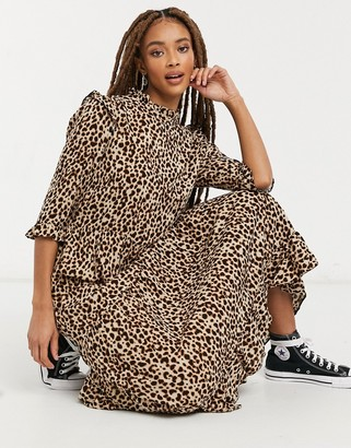 New Look frill shoulder midi dress in brown animal pattern