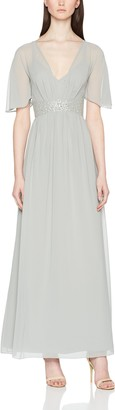 Little Mistress Women's Angel Sleeve Maxi Dress with Jewel Waist Party