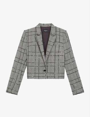 The Kooples Sequinned-check woven blazer