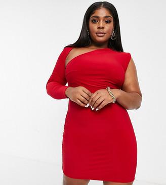 Club L London Plus slash neck one shoulder mini dress in red
