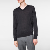 Paul Smith Charcoal Grey Merino-Wool V-Neck Sweater