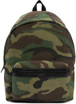 Saint Laurent Green Camouflage City Backpack