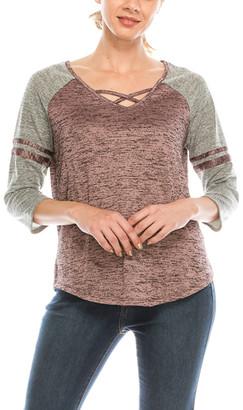 Urban Diction Women's Tee Shirts Pink - Pink & Gray Crisscross-Strap V-Neck Top - Women