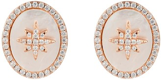 Latelita Starburst Oval Stud Earring White Mother Of Pearl Rosegold