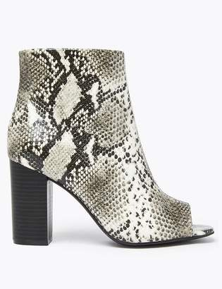 M&S CollectionMarks and Spencer Animal Print Block Heel Peep Toe Ankle Boots