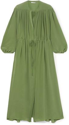 Three Graces London Julienne Gathered Silk Crepe De Chine Maxi Dress