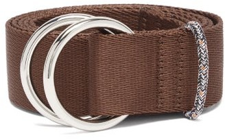 Ganni Double-ring Canvas Belt - Womens - Brown