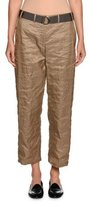 Giorgio Armani Belted Metallic Cropped Utility Pants, Nut