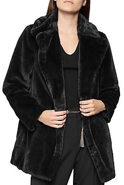 Reiss Lexington Double-Breasted Faux Fur Coat