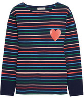 Chinti and Parker Printed Striped Cotton-jersey Top - Royal blue