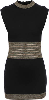 Balmain Fitted Metallic Trim Mini Dress