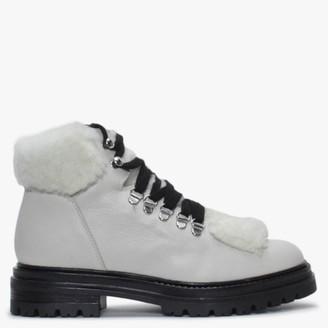Alba Moda White Leather Walking Boots