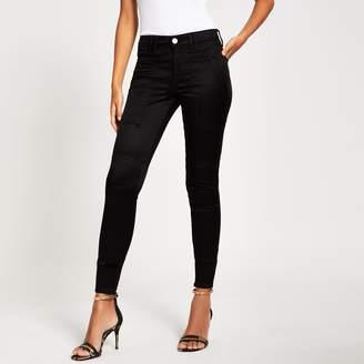 River Island Womens Black satin Amelie super skinny jeans