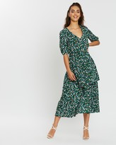 Missguided Floral Tiered Midi Dress