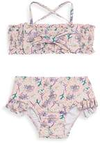 Jessica Simpson Little Girl's Two-Piece Shirred Swim Top and Bottom Set