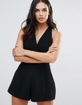 Love Pleated Bust Romper In Black