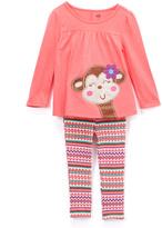Kids Headquarters Pink Monkey Tunic & Leggings - Toddler & Girls