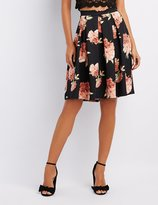 Charlotte Russe Floral Pleated Midi Skirt