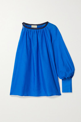ZEUS + DIONE Galene One-sleeve Linen-trimmed Cotton And Silk-blend Top - Blue