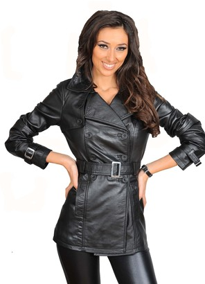 A1 Fashion Goods Ladies Genuine Leather Jacket Womens Double Breasted Trench Coat Olivia Black (16)