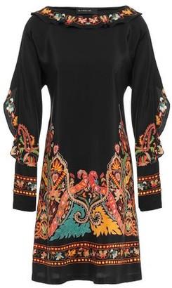 Etro Fringed Printed Silk Crepe De Chine Mini Dress