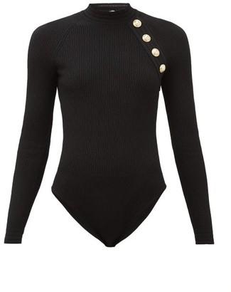 Balmain Shoulder-button Ribbed-knit Bodysuit - Womens - Black
