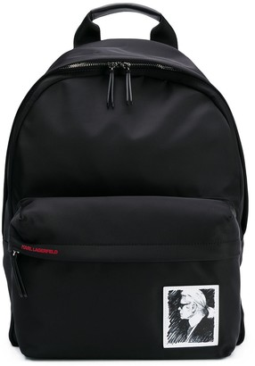 Karl Lagerfeld Paris Sketch Logo Patch Backpack