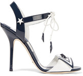 Dolce & Gabbana Embellished Patent-leather Sandals - Midnight blue