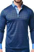 Maceoo Check Print Long Sleeve Polo Shirt