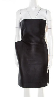 Lanvin Monochrome Satin Bow Detail Strapless Dress S