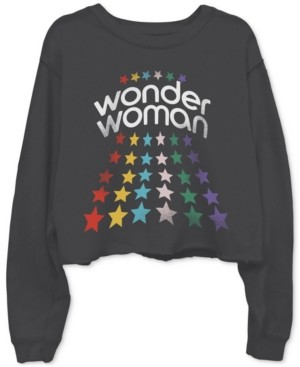 Junk Food Clothing Cotton Wonder Woman-Graphic Cropped Raw-Edge Sweatshirt