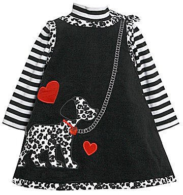 Bonnie Baby Infant Dalmatian Jumper Dress & Striped Bodysuit