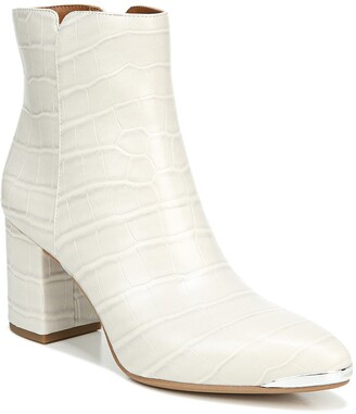 Franco Sarto Bianco Croc Embossed Block Heel Boot