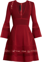 Elie Saab Lace-panel ribbed-knit skater dress