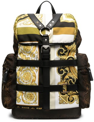 Versace Print-Mix Harness Detail Backpack
