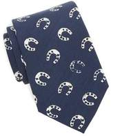 Drakes Drake's Silk Navy Horseshoe Tie