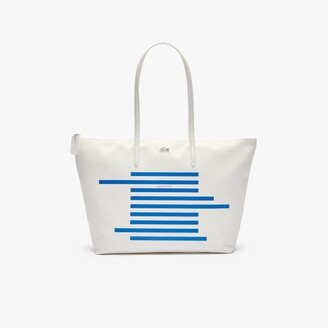 Lacoste Women's L.12.12 Nautical Stripes Large Coated Canvas Tote Bag