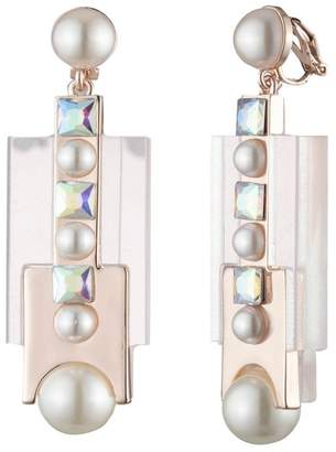 Carolee Imitation Pearl Cubic Zirconia Resin Clip-On Drop Earrings