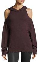 RtA Denim Juno Cold-Shoulder Hooded Cashmere Pullover