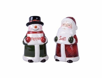 Transpac Dolomite Red Christmas Snowman and Santa Salt and Pepper Set of 2