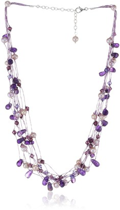 Swarovski Dew Women's Multi-Stranded Amethyst Crystal and Freshwater Pearl Necklace of Length 18 inch